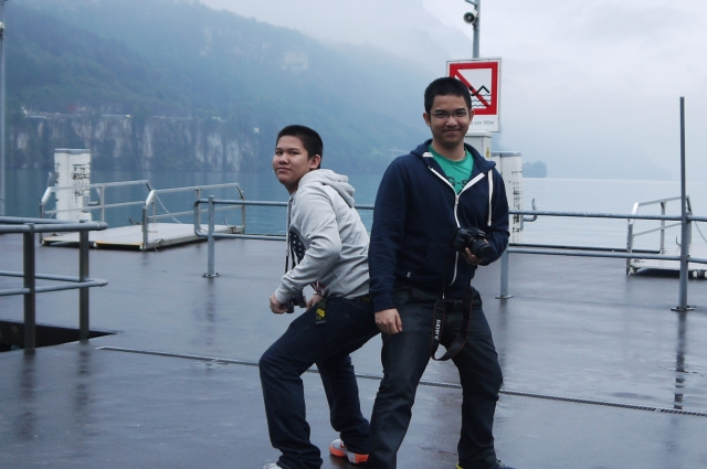Clowning around with my brother. Lausanne, Switzerland